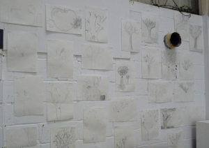 A collection of the children's drawings - on display as part of an exhibition at The Russet Cafe.